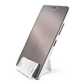 alternatywna podstawka na telefon z plexi z cenówką