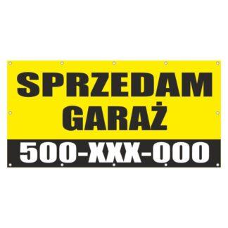 Baner z informacją o sprzedaży garażu