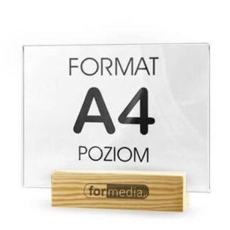 Praktyczne stojaki z drewnianą podstawką A4 z logo