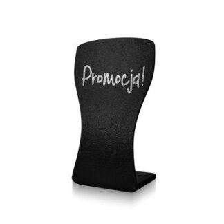 czarny stojak wysoka szklanka z napisem