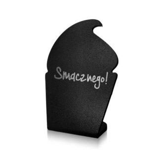 czarny stojak w kształcie babeczki z napisem