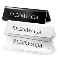 tabliczka informacyjna na stol z napisem rezerwacja