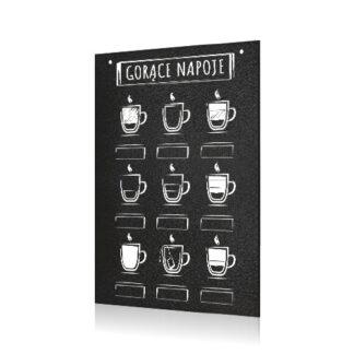 tablica kredowa na menu napojów bez cen