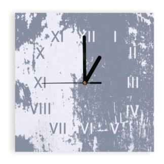 zegar plexi szarobiały zniszczony