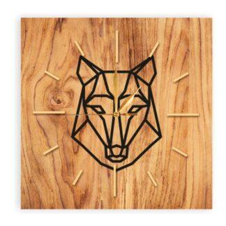 drewniany kwadratowy zegar z wilkiem