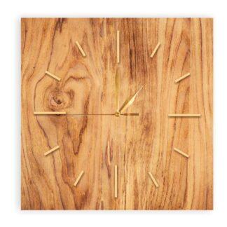 drewniany kwadratowy zegar bez loga