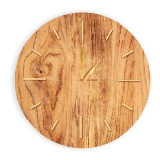 zegar drewniany okrągły zloty
