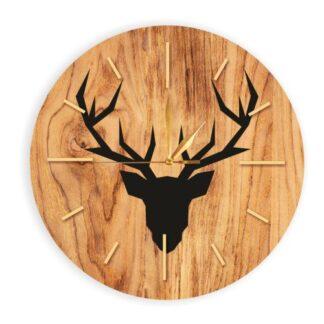 drewaniany egar z jeleniem