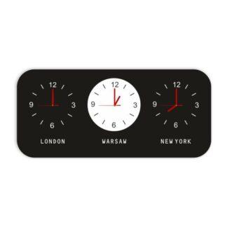 czarno biały zegar z różnymi strefami czasowymi