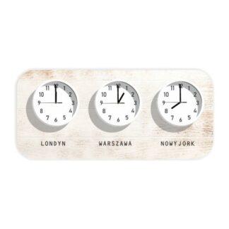 zegar ścienny z różnymi strefami czasowymi