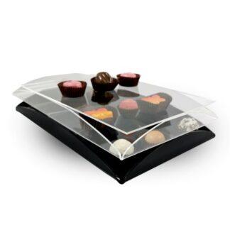 czarne i przezroczyste podówjne tacki do pralinek